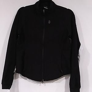 Nike dri-fit zip up black w/white athletic jacket